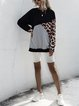 Loose Color-block Leopard Print Mid-length Pullover Sweatershirt
