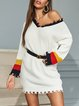 Casual Stitching Sleeve Long Pullover Sweater Dress