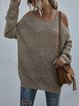 Knitted Casual Loose Long Sleeves Off-shoulder Sweater