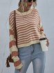 Striped Short Loose Knit Pullover Sweater
