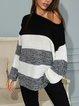 Black White Striped Color-block Casual Sweater