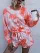 Tie-dye Printing Long Sleeve Tops Shorts Casual Homesuit