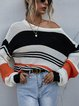 Three-color Stitching Striped Long Sleeves Sweater