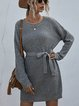 Solid Color Loose Long Knitted Pullover Sweater Dress