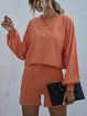 Pure Color Casual Knitted Sweater Suit