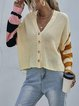 Stitching Knitted Casual Cardigan Sweater