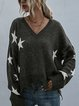 Star Printed Tassel Knitted Pullover Sweater