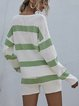 Striped Long-sleeved V-neck Thin Knitted Sweater Set