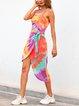 Tie-dye Printed Sideways Tie Irregular Suspender Dress