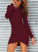Casual Long Sleeve Round Neck Pleated Slim Sexy Dress