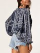 Ethnic Print Lantern Sleeve V-neck Tassel Casual Shirt