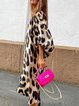 Leopard Casual Balloon Sleeve Shift Dresses