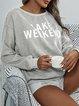 Corduroy Ccasual Round Neck Letter Printed Sweatshirt