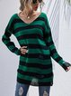 Long Sleeve Hollow Stripe Knitted Sweater