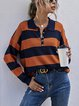 Loose Striped Shirt Collar Bottoming Tops