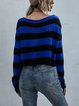 Striped Short Pullover Knitted Sweater