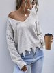 Loose V-Neck Long Sleeve Knitted Sweater