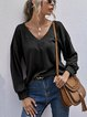 V-neck Pullover Sweater Loose Long Sleeve Knit Bottoming Top