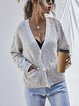 Solid Casual V-neck Loose Sweater Cardigan