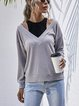 Fashion Fake Two Piece Stitched Solid Color Knitted Sweater