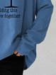 Gray Cowl Neck Cotton-Blend Casual Shirts & Tops