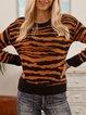 Coffee Paneled Cotton-Blend Long Sleeve Crew Neck Sweater
