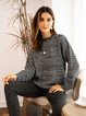 Gray Plain Cotton-Blend Paneled Casual Sweater