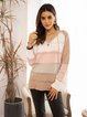 Pink Cotton-Blend Paneled V Neck Casual Sweater