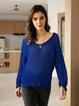 Blue Crew Neck Casual Paneled Plain Sweater