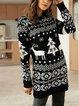 Black Animal Boho Cotton-Blend Sweater