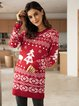 Red Paneled Casual Crew Neck Plants Sweater