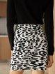 Black Boho Cotton-Blend Leopard Paneled Skirts