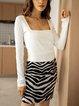 Black Leopard Paneled Casual Cotton-Blend Skirts