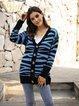 Blue Leopard-Print Cotton-Blend Casual Sweater