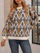Blue Crew Neck Geometric Long Sleeve Paneled Sweater