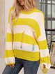 Yellow Cotton-Blend Long Sleeve Paneled Crew Neck Sweater