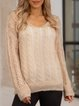 Khaki Cotton-Blend Casual Paneled Sweater