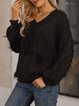 Black Solid Cotton-Blend Long Sleeve Casual Sweater