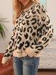 Khaki Crew Neck Cotton-Blend Vintage Leopard Sweater