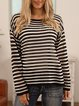 Black Striped Casual Crew Neck Sweater