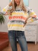 Apricot Casual Paneled Cotton-Blend Letter Sweater