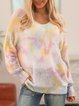 Pink V Neck Casual Long Sleeve Sweater