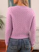 Purple Paneled Plain Casual Cotton-Blend Sweater