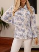 Blue Geometric Shawl Collar Cotton-Blend Casual Shirts & Tops