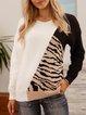 White Cotton-Blend Leopard Crew Neck Casual Sweater