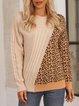 Khaki Cotton-Blend Leopard Color-Block Long Sleeve Sweater