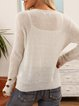 Gray Casual Crew Neck Paneled Cotton-Blend Sweater