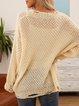 Apricot Plain Long Sleeve V Neck Cotton-Blend Sweater