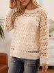 Pink Plain Long Sleeve Crew Neck Sweater