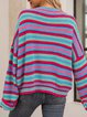 Blue Striped Long Sleeve Crew Neck Sweater